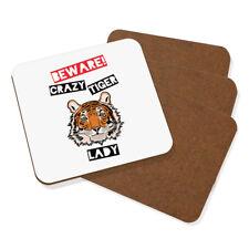 Beware Crazy Tiger Lady Coaster Drinks Mat Set Of 4 - Funny Animal