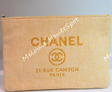 AUTH CHANEL CC LOGO YELLOW CLUTCH 31 RUE CAMBON ENVELOPE ZIP CANVAS CLUTCH