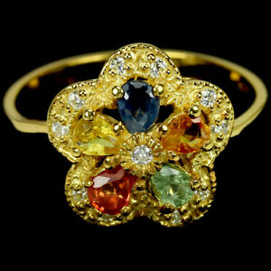 GENUINE MULIT COLOR SAPPHIRE & WHITE CZ STERLING 925 SILVER FLOWER RING SIZE 7.5