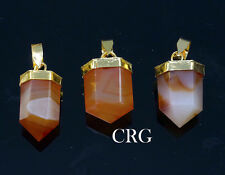 Gold Plated Petite Carnelian Agate Pencil Point Pendant (PE8DG)