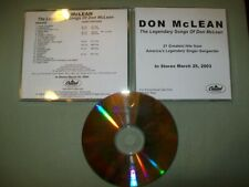 Don McLean       **PROMO CD**       The Legendary Songs of Don McLean