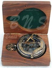 Old Antique Nautical Brass West London Heavy Sundial Pocket Push Button Compass