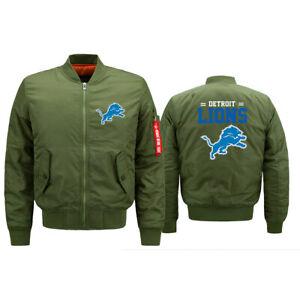 Detroit Lions Flying Pilot Bomber Jacket Thicken Hoodie Fans Windproof Coat Gift