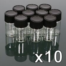 10 x 2ml Clear Glass Vials - Bottle Screw Lids Caps - Mini Sample Jar -UK SELLER