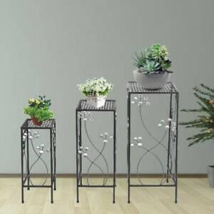 Set of 3 Metal Plant Pot Stand Indoor Outdoor Flower Planter Display Holder Rack