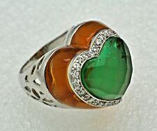 Ring Grüner Achat Quarz  & Cz 925 Sterling Silber  Ø 18.1 mm