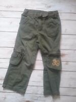 WONDER KIDS boys pants 5T army green cargo belted number patch cotton adjustable