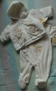 Peter Rabbit 0-3months Hooded Jacket and Baby Suit In Cream