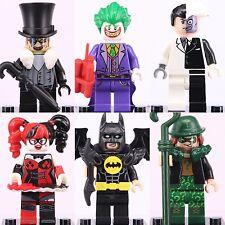 6pcs Marvel Batman Penguin Two Face Joker Harley Quinn Super Heroes Custom Lego