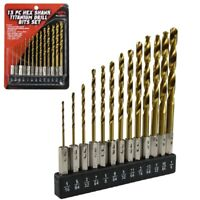 Hex Shank Drill Bit Set 13pc w/Holder HSS Titanium Coated Quick Change Load New