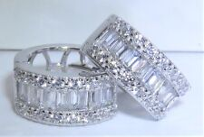 925 STERLING SILVER CREOLE SIMULATED BAGUETTE  CUT  DIAMOND HOOP  EARRINGS