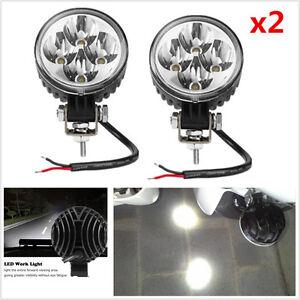 2x Waterproof 12W Round 6000K Auto Car Off Road LED Work Spot Fog Light DRL Lamp