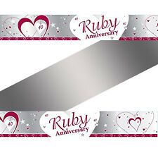 9ft x 40th Ruby Wedding Anniversary Party Foil Banner Decoration
