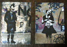 Banksy TWO ACEOs graffiti street art on Canvas - Thug Lovin