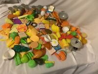 Large 150+ Pc Plastic Food Play Food Kids Kitchen Playset Modern And Vintage
