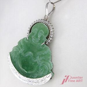 Buddha Pendant - 18K/750 White Gold - Jade + Zirconia Trim - Handmade -23, 1 G