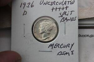 1936-D    SPLIT BANDS    UNC+++   MERCURY DIME