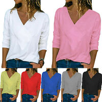 Womens Casual Slim Fit Long Sleeve T-shirt V Neck Tops Ladies Blouse Plus Size