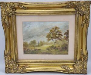 oil on canvas original painting landscape scene gilt framed Christmas gift