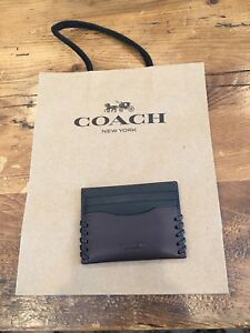 Coach Men's Leather Credit Card Case Wallet Baseball Stitch F22370 Gift Box $95