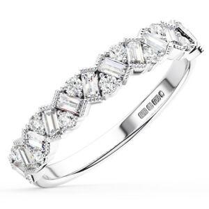 0.75Ct Round & Baguette Cut Diamonds Half Eternity Wedding Ring in 950 Platinum