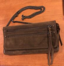 ALL SAINTS Leather & Suede Crossbody Bag Purse Chain Strap Detach Clutch Brown