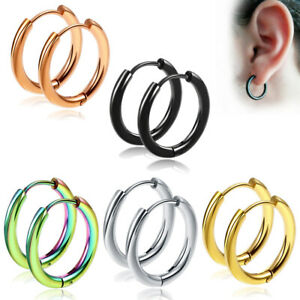 2-10PCS Stack Hoop Nose Ear Hinged Tragus Ring Septum Clicker Surgical Steel