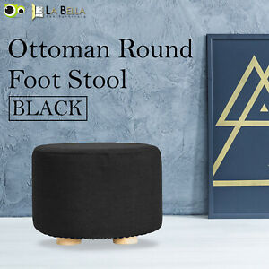 Fabric Ottoman Round Foot Stool Rest Pouffe Wooden Leg Padded Seat - BLACK