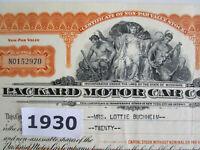 MI GREAT DEPRESSION Era 1930 PACKARD MOTOR Stock Certificate MICHIGAN AUTOMOBILE