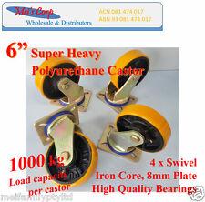 """6"""" Polyurethane Castor Wheels,4 Swivel Casters, 1000kg Load Capacity Heavy Duty"""
