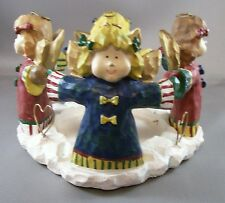 CHRISTMAS ANGELS ROUND PILLAR CANDLE HOLDER NEW Resin Faux Carved Wood Look