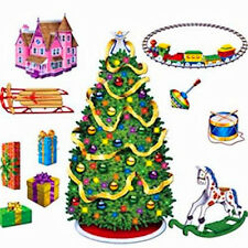 Christmas Decoration Christmas Tree and Gifts Scene Setter set of 11 tree is 5'
