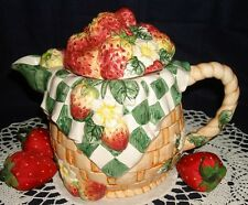 STRAWBERRY TEAPOT FIGURAL BASKETWEAVE TEA POT HANDPAINTED GREEN WHITE CHECKED