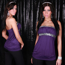 SeXy Miss Damen Glamour Bandeau Tunika Long Top Pailletten 34/36/38 lila silber
