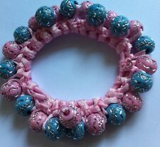 A Pretty Pastel Pink And Blue Beaded Hair Scrunchie/Bobble