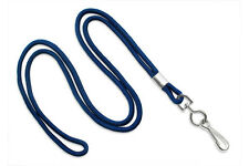 "Blue Round 1/8"" Standard Lanyard W/ Nickel Plated Steel Swivel Hook - 1 DOZEN"