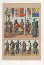 Costume Mode Vintage print Europe Moyen âge Chevalier armure bouclier mailles