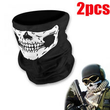 2pcs Skull Face Shield Sun Mask Neck Balaclava Scarf Headwear UV Cycling Bicycle
