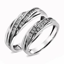 0.15 CT Diamond 14K White Gold Over His & Hers Wedding Band Set Ring Halloween