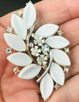 Vintage Usner Pin White & Silver Floral Gemed Brooch Costume Jewelry signed