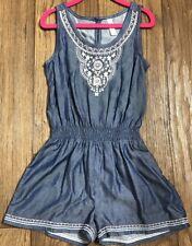 Xhilaration Girls Blue Sleeveless Tank Top Romper Shorts NWOT Size XS (4/5)