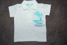 """Benetton Baby White Polo Shirt """"Surf Knights"""" 0-3 Months 100% Cotton BNWOT"""