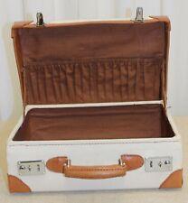 Valise toile écrue & cuir fauve vintage 70/80 neuve deastock NOS