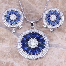 Round Blue Sapphire White Topaz Silver Jewelry Sets Earrings Pendant S0770