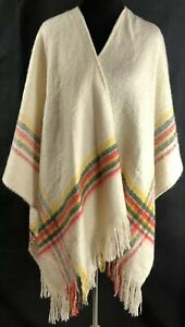 Free People  Beige Ivory Multi Poncho/Shawl ONS