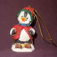 """Penguin Skiing Christmas Ornament Resin 2""""  Sweater Hat Holiday Bird"""