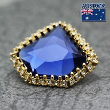New 18K Gold GP Synthetic Sapphire Pretty Stud Earrings Vintage Elegant