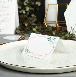 20 GEOMETRIC DESIGN PLACE CARDS WHITE GOLD LETTERING WEDDING TABLE PARTY