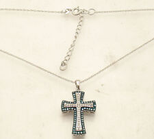 Natural Blue & Clear Diamond Cross Pendant Necklace Chain Real 925 Silver