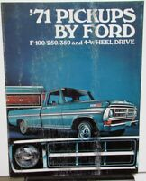 1971 Ford Truck Model F 100 250 350 4 W/D Pickup Drive Brochure Features Specs